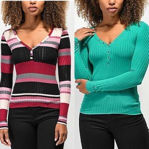 Ribbed Henley Top-bundle of 2